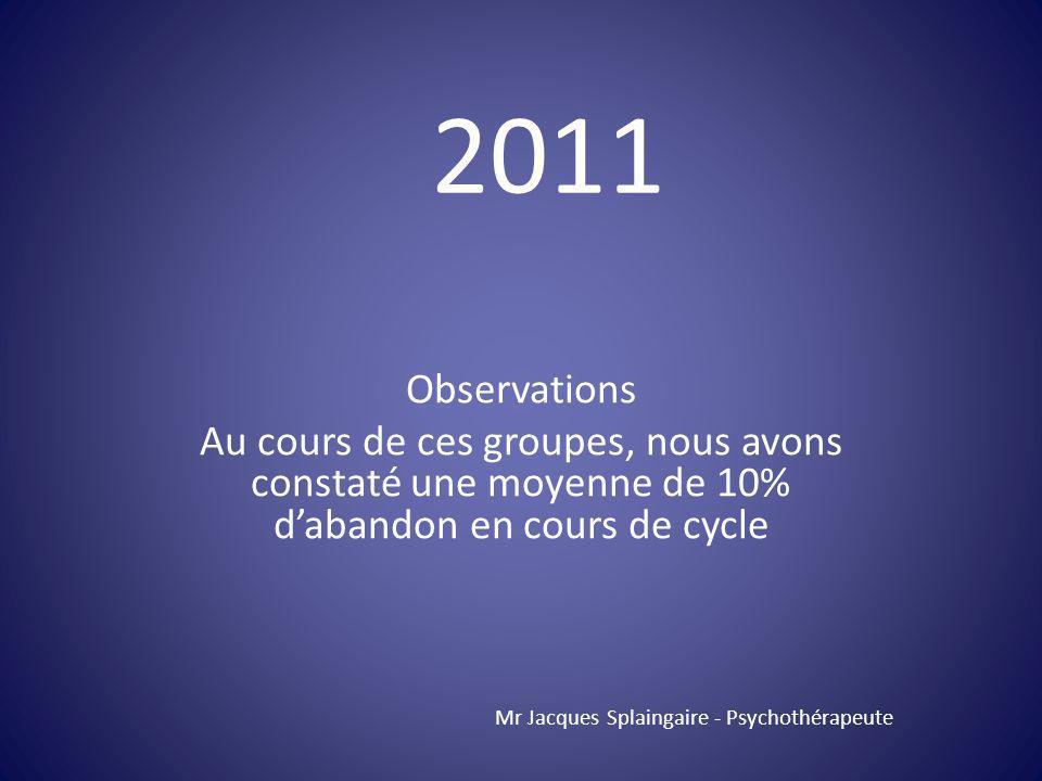 2011 Observations. Au cours de ces groupes, nous avons constaté une moyenne de 10% d'abandon en cours de cycle.