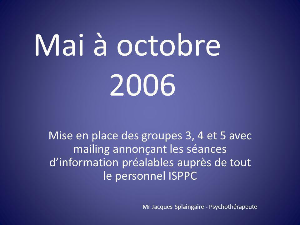 Mai à octobre 2006.
