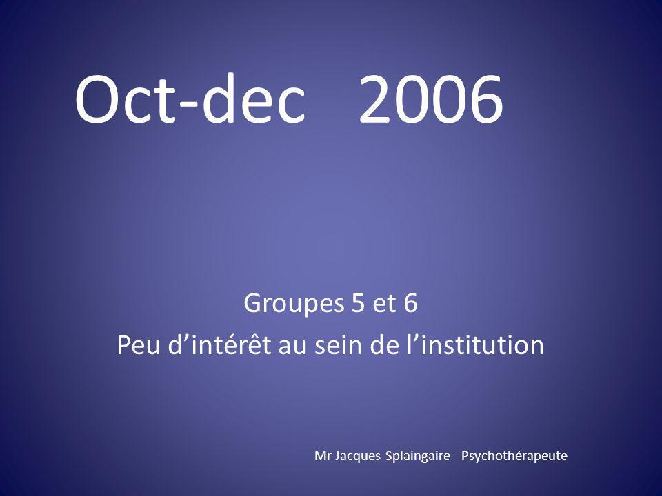 Groupes 5 et 6 Peu d'intérêt au sein de l'institution