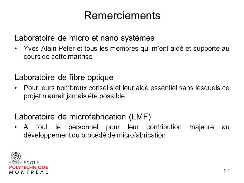 Remerciements Laboratoire de micro et nano systèmes