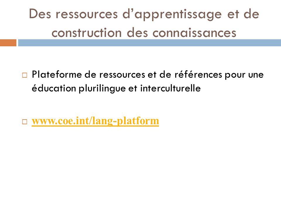 Des ressources d'apprentissage et de construction des connaissances