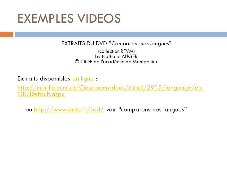 EXTRAITS DU DVD Comparons nos langues