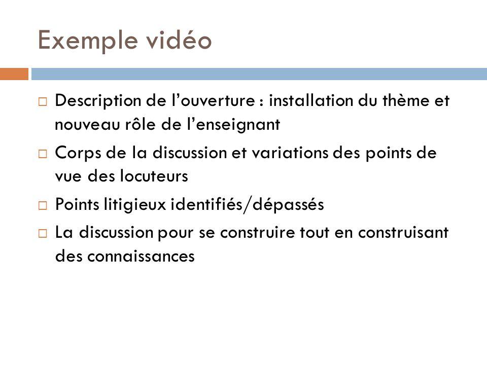 Exemple vidéo Description de l'ouverture : installation du thème et nouveau rôle de l'enseignant.