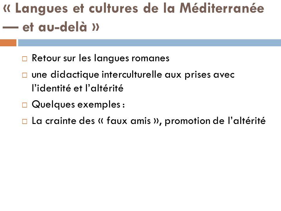 « Langues et cultures de la Méditerranée — et au-delà »