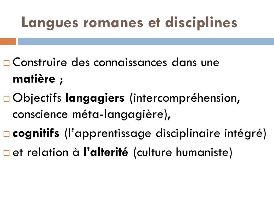 Langues romanes et disciplines
