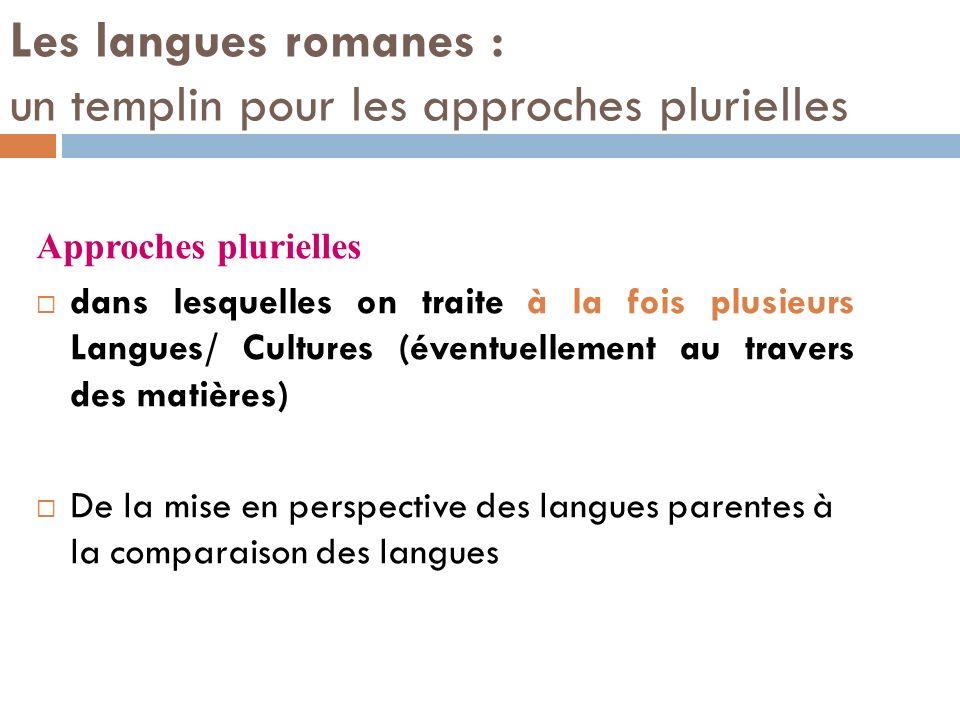 Les langues romanes : un templin pour les approches plurielles