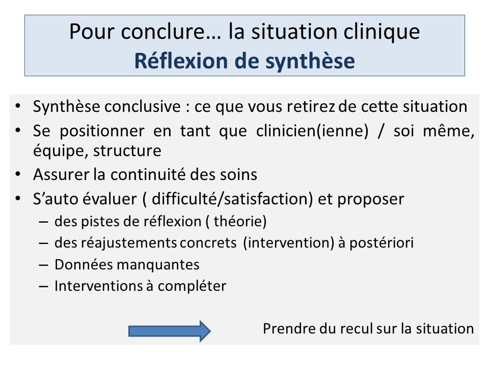 Pour conclure… la situation clinique Réflexion de synthèse