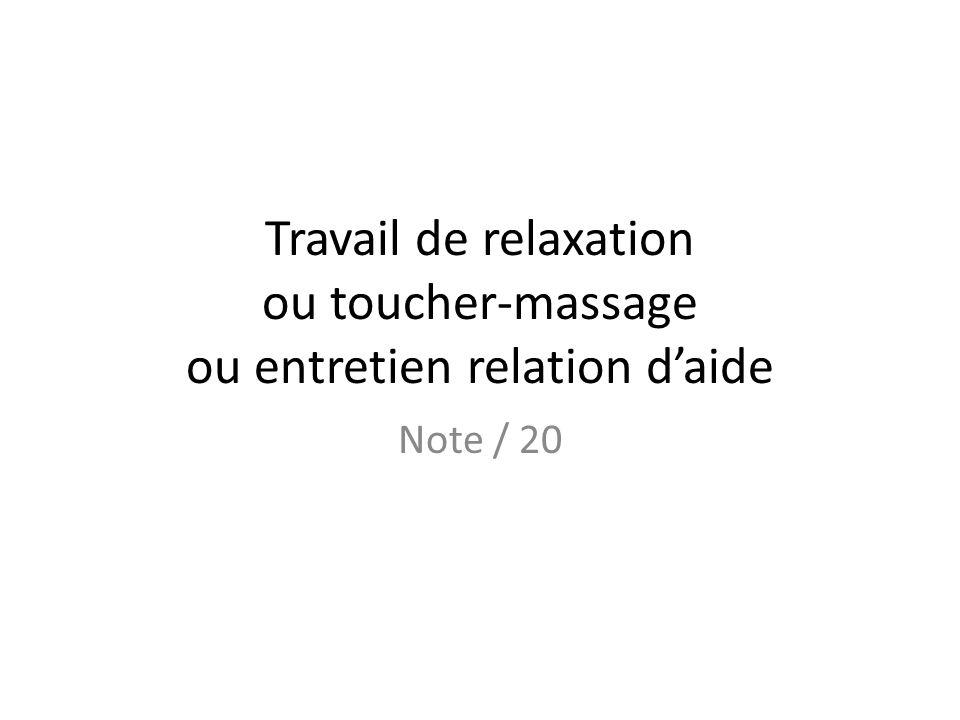 Travail de relaxation ou toucher-massage ou entretien relation d'aide