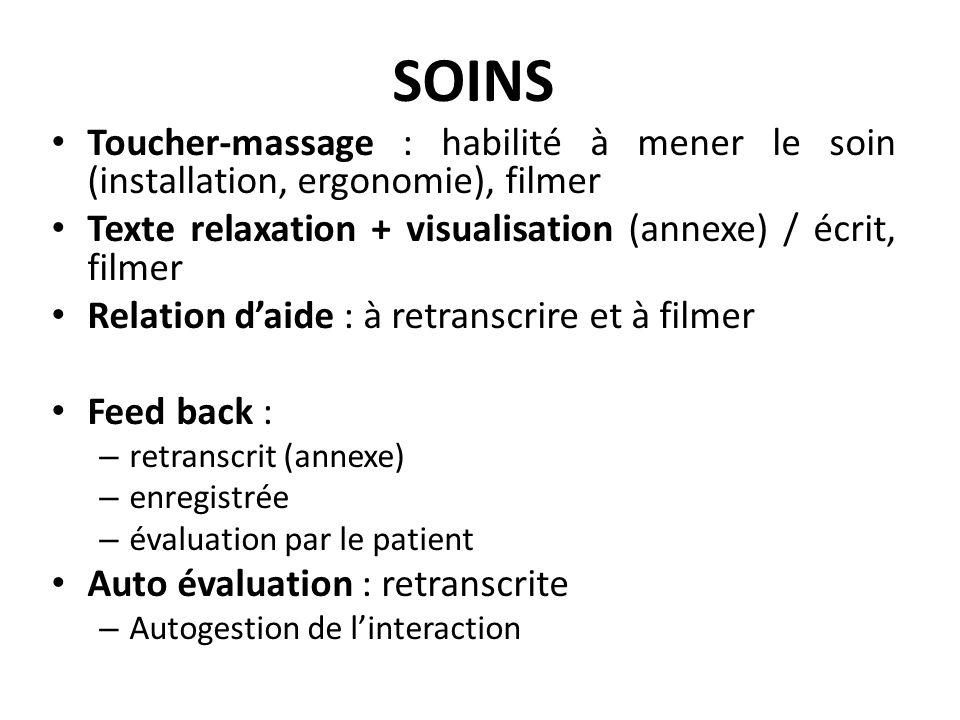 SOINS Toucher-massage : habilité à mener le soin (installation, ergonomie), filmer. Texte relaxation + visualisation (annexe) / écrit, filmer.