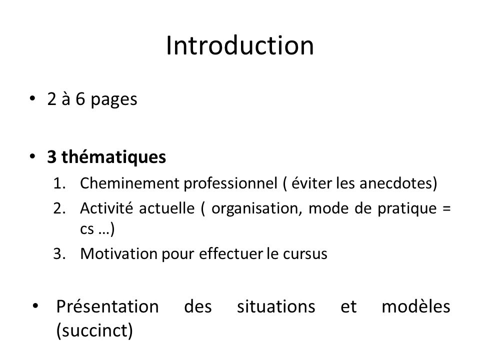 Introduction 2 à 6 pages 3 thématiques