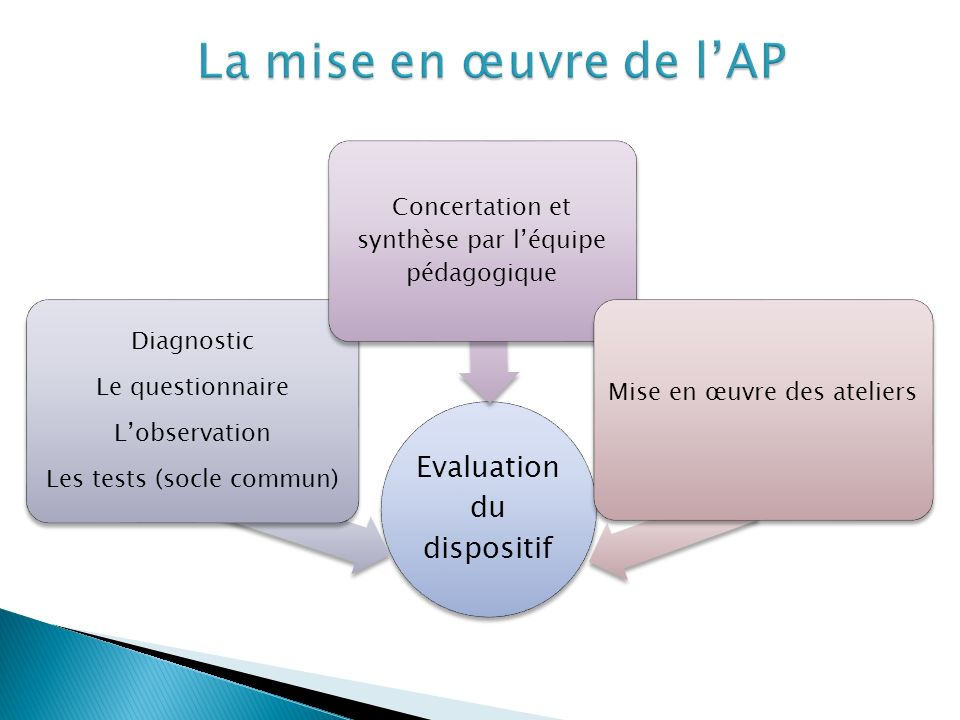 La mise en œuvre de l'AP Evaluation du dispositif