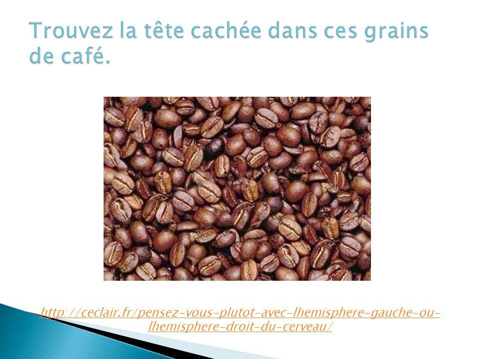 Trouvez la tête cachée dans ces grains de café.