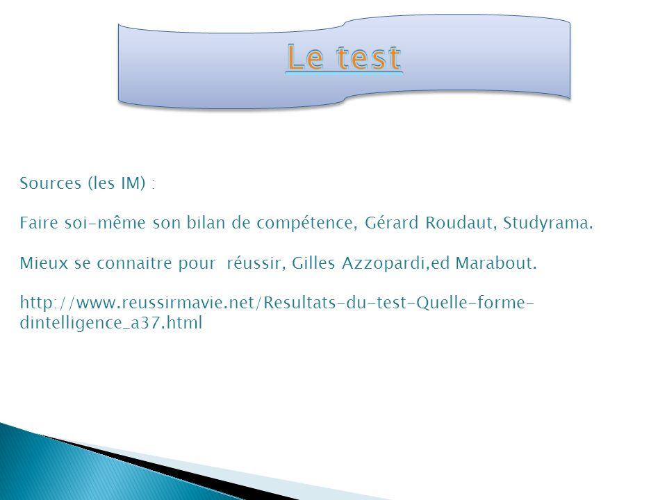 Le test Sources (les IM) :