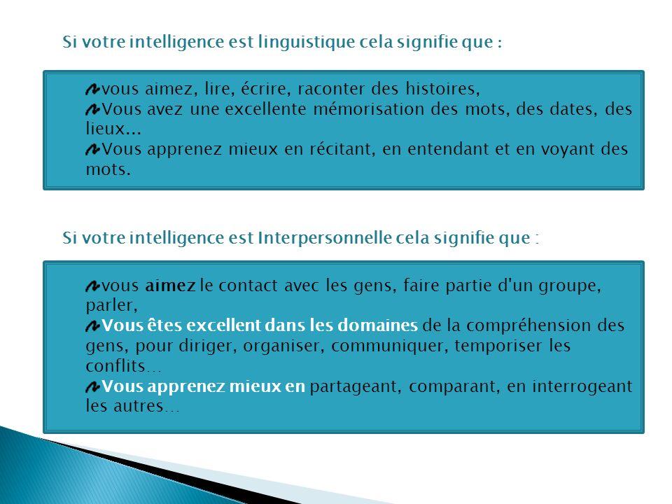 Si votre intelligence est linguistique cela signifie que :