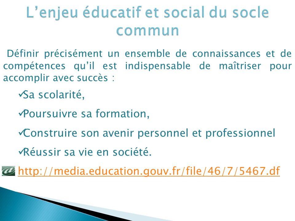 L'enjeu éducatif et social du socle commun
