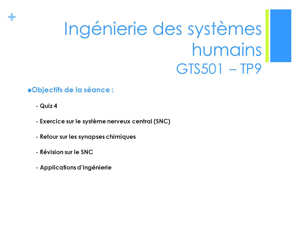 Ingénierie des systèmes humains GTS501 – TP9