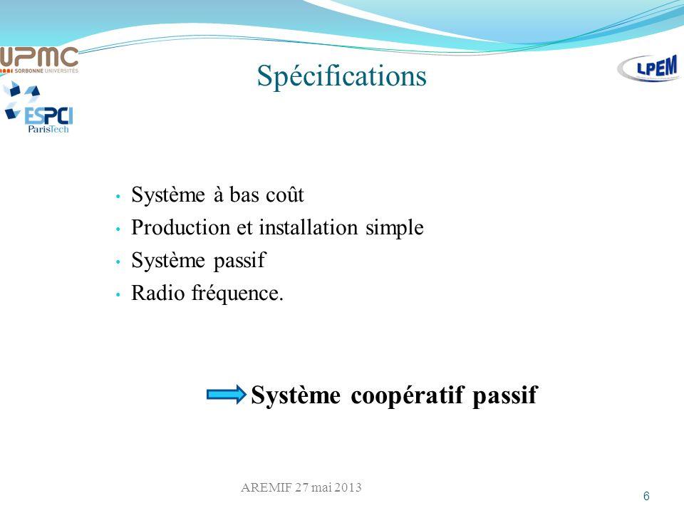 Spécifications Système à bas coût Production et installation simple