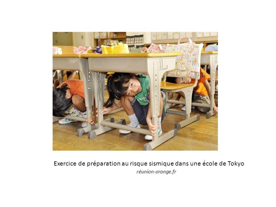 Exercice de préparation au risque sismique dans une école de Tokyo