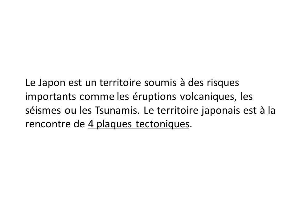 Le Japon est un territoire soumis à des risques importants comme les éruptions volcaniques, les séismes ou les Tsunamis.