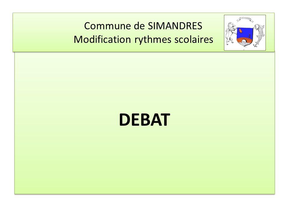 Commune de SIMANDRES Modification rythmes scolaires