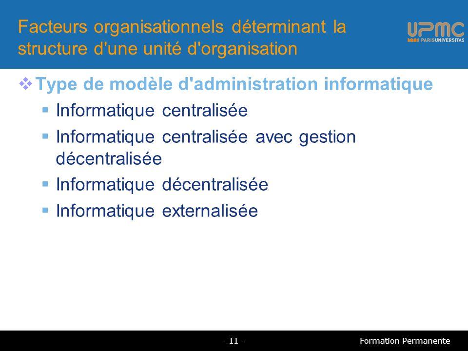 Type de modèle d administration informatique Informatique centralisée