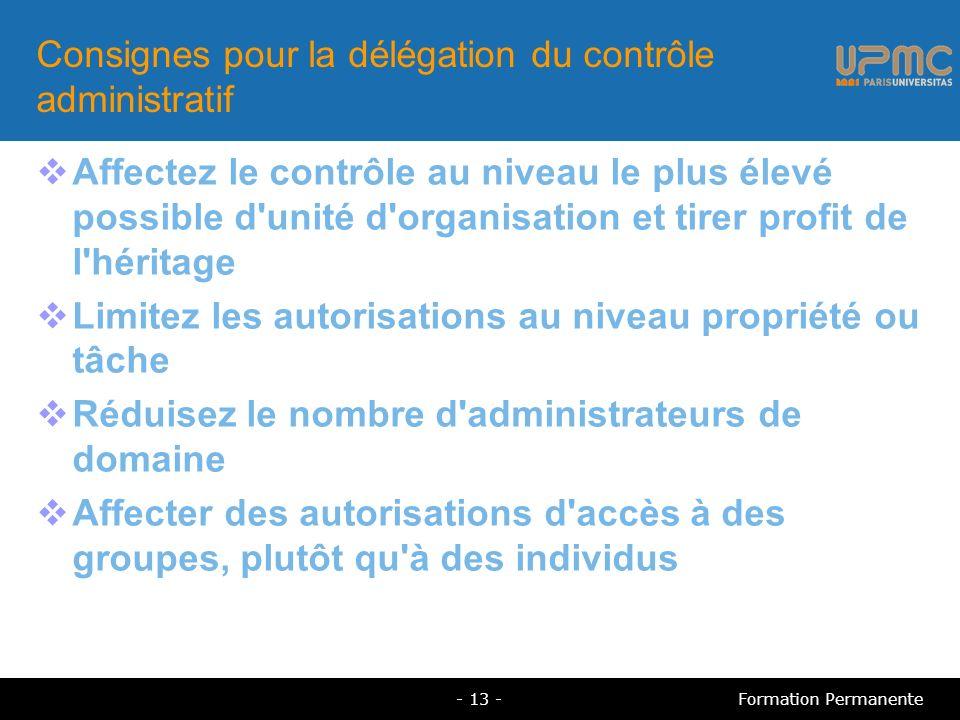 Consignes pour la délégation du contrôle administratif