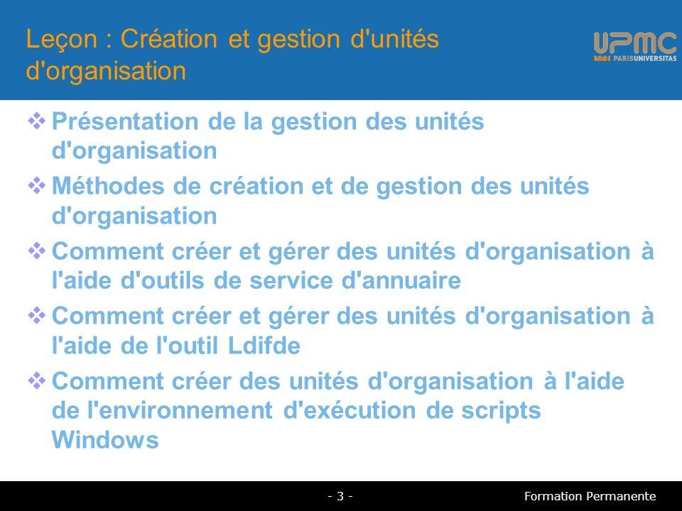 Leçon : Création et gestion d unités d organisation