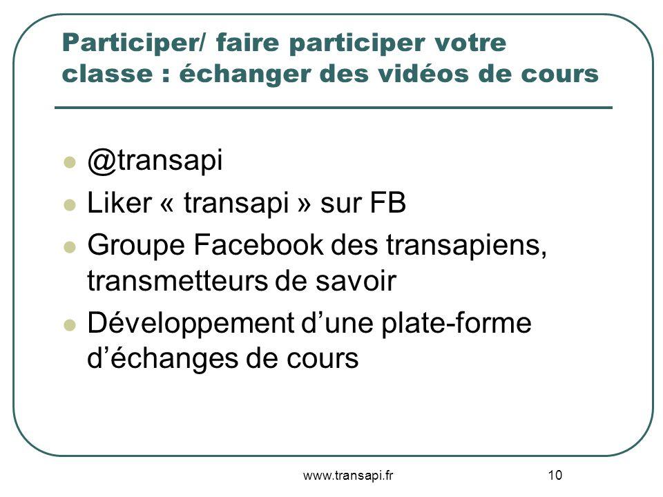 Liker « transapi » sur FB