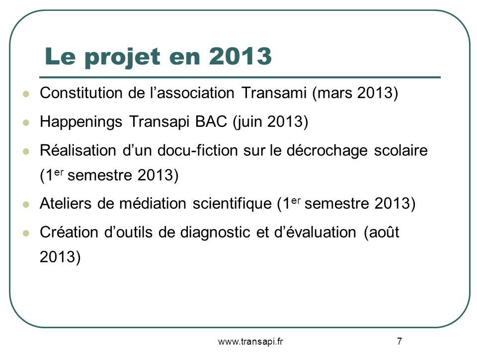 Le projet en 2013 Constitution de l'association Transami (mars 2013)