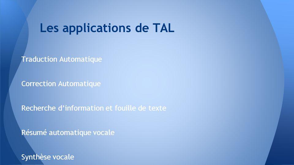 Les applications de TAL