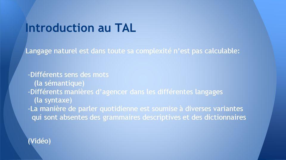 Introduction au TAL Langage naturel est dans toute sa complexité n'est pas calculable: -Différents sens des mots.