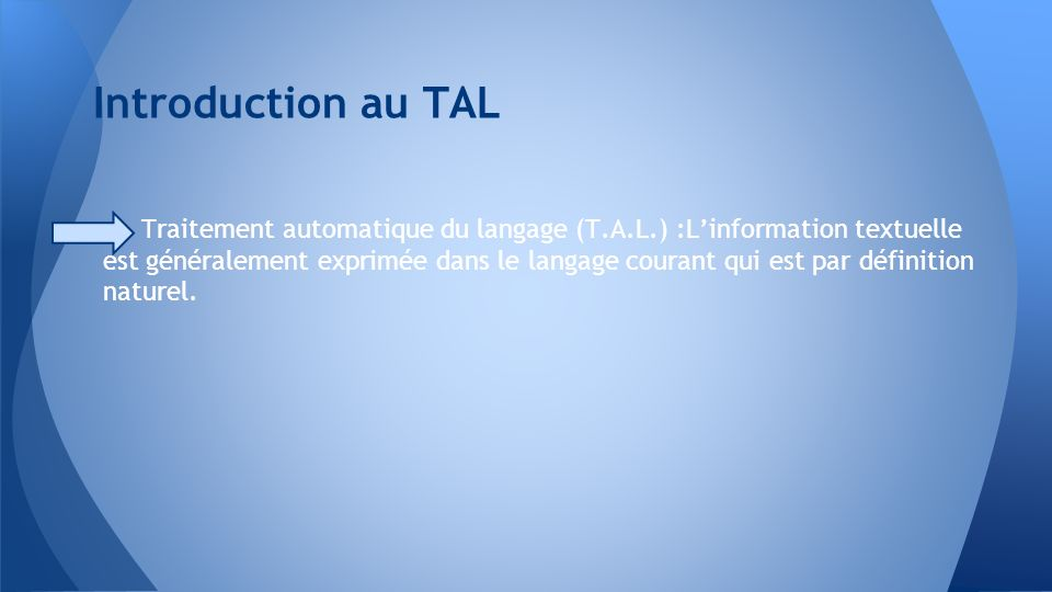 Introduction au TAL