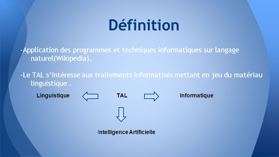 Définition -Application des programmes et techniques informatiques sur langage naturel(Wikipedia).