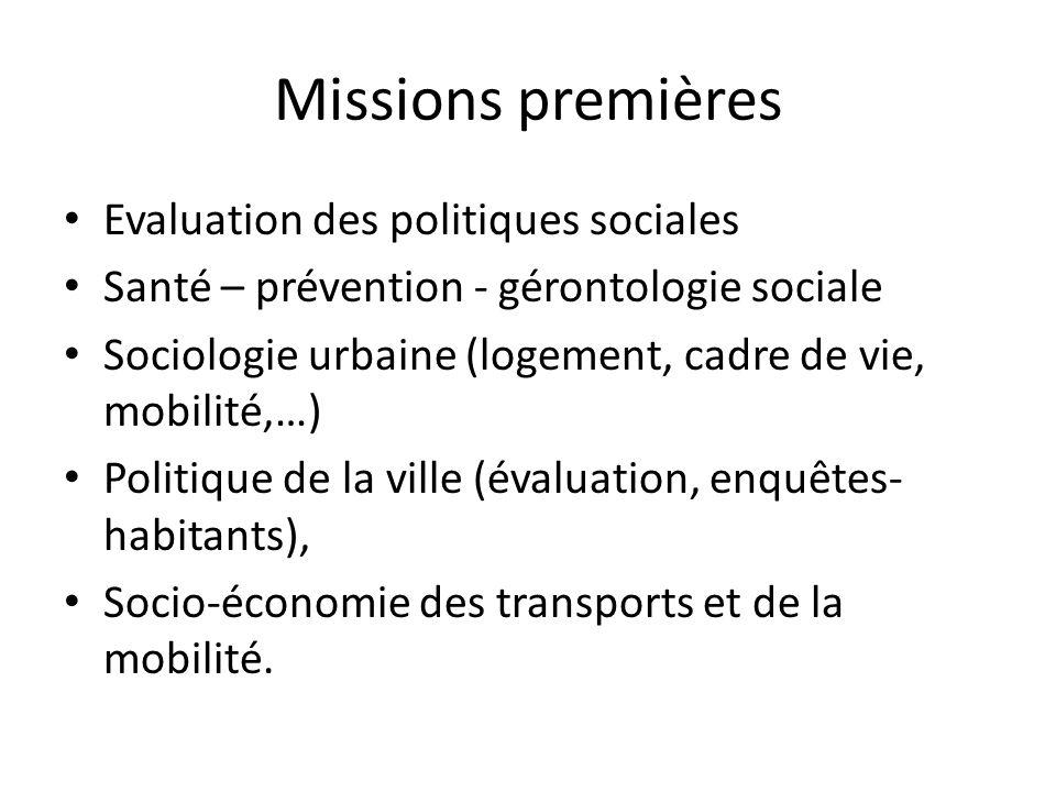 Missions premières Evaluation des politiques sociales