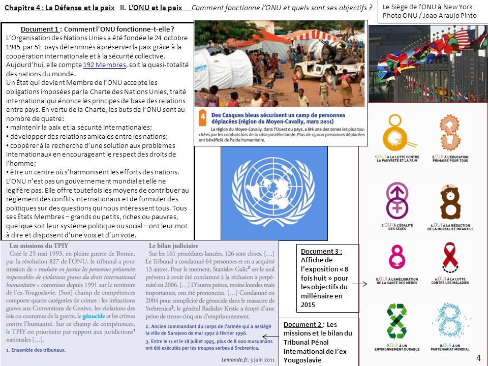 Document 1 : Comment l ONU fonctionne-t-elle