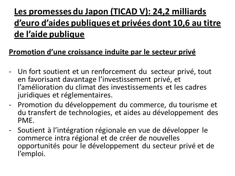 Les promesses du Japon (TICAD V): 24,2 milliards d'euro d'aides publiques et privées dont 10,6 au titre de l'aide publique