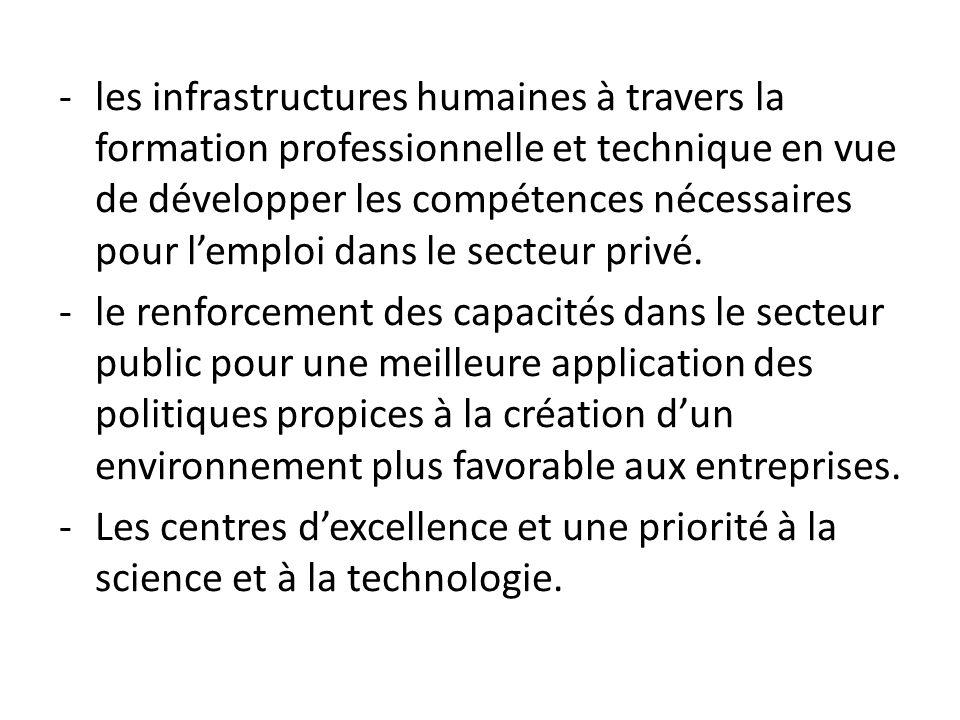 les infrastructures humaines à travers la formation professionnelle et technique en vue de développer les compétences nécessaires pour l'emploi dans le secteur privé.
