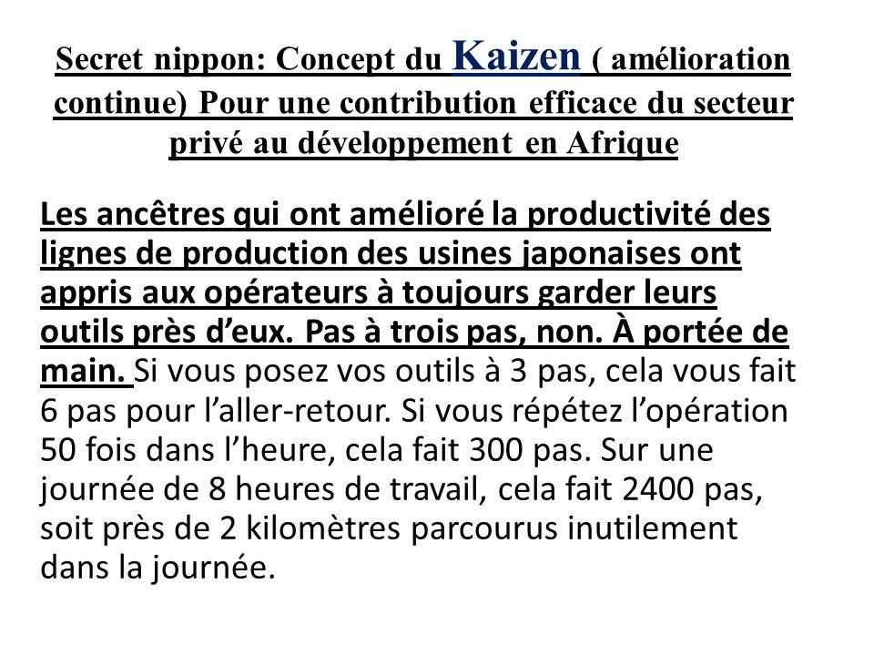 Secret nippon: Concept du Kaizen ( amélioration continue) Pour une contribution efficace du secteur privé au développement en Afrique