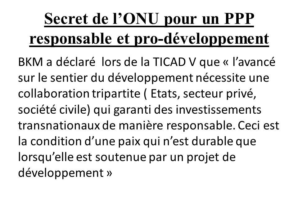 Secret de l'ONU pour un PPP responsable et pro-développement