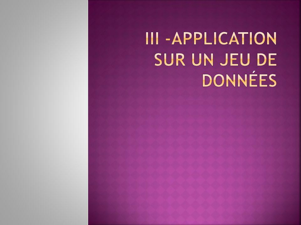 III -Application sur un jeu de données