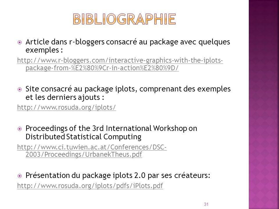 Bibliographie Article dans r-bloggers consacré au package avec quelques exemples :