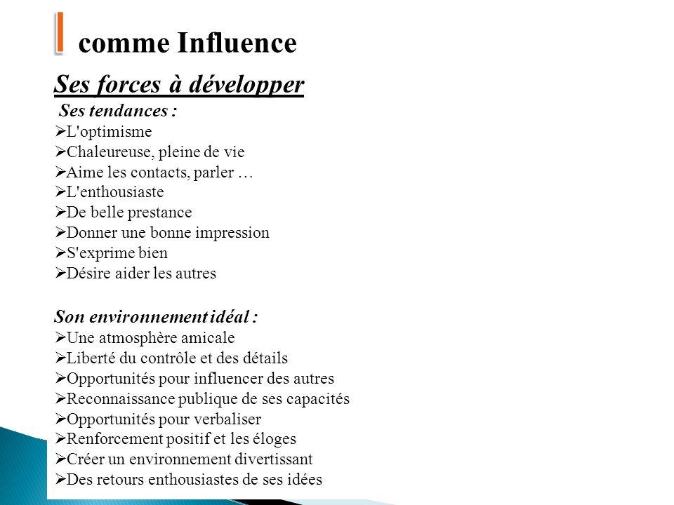 I comme Influence Ses forces à développer Ses tendances :