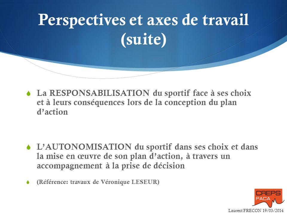 Perspectives et axes de travail (suite)