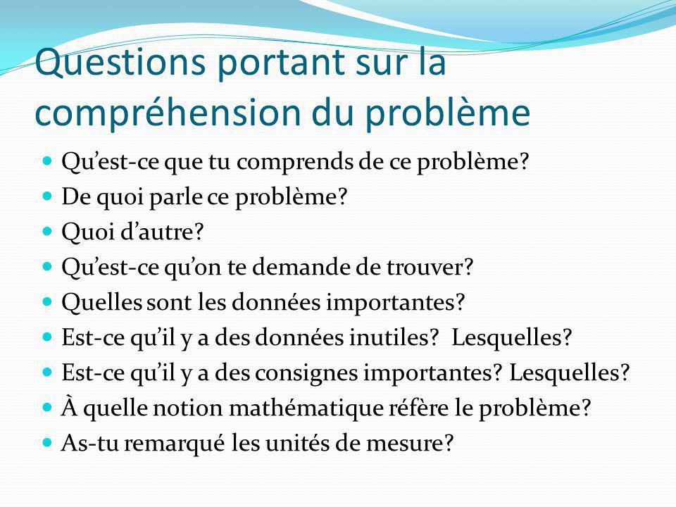 Questions portant sur la compréhension du problème