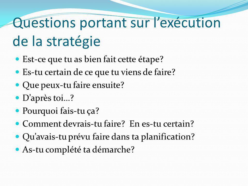 Questions portant sur l'exécution de la stratégie
