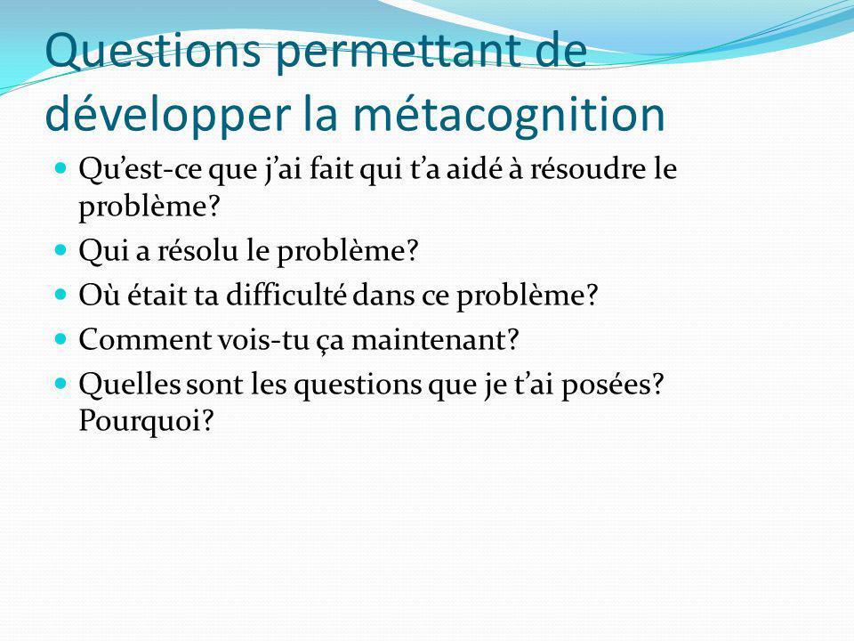 Questions permettant de développer la métacognition