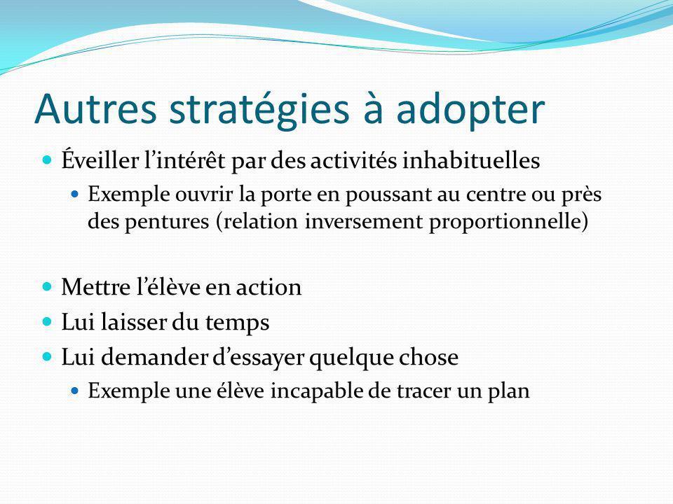 Autres stratégies à adopter