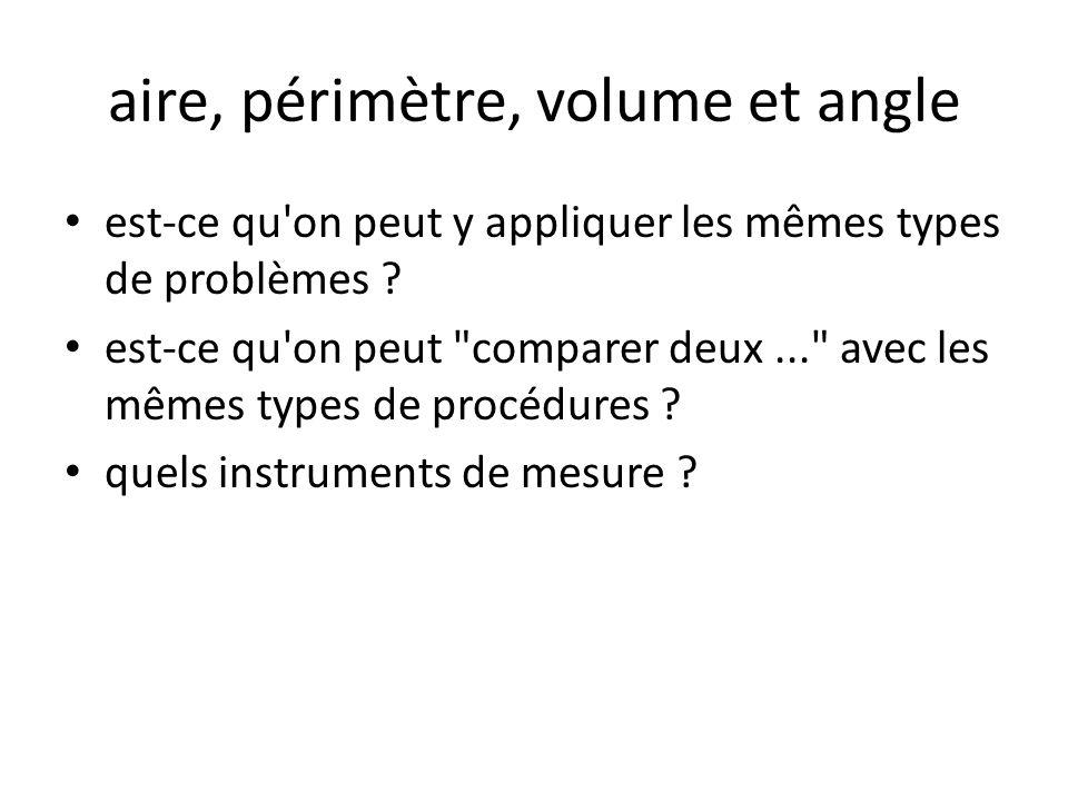aire, périmètre, volume et angle