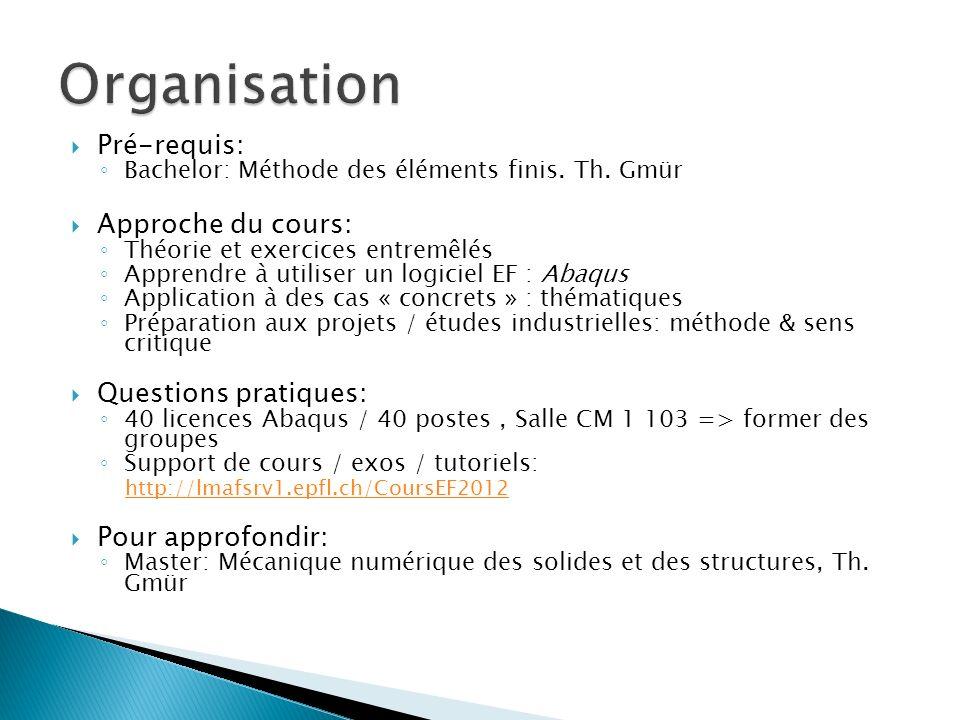 Organisation Pré-requis: Approche du cours: Questions pratiques: