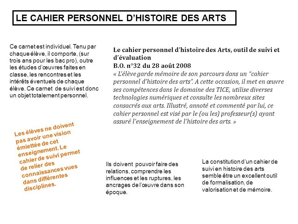 LE CAHIER PERSONNEL D'HISTOIRE DES ARTS